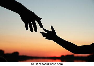 achild, prese, silhouette, genitore, mano