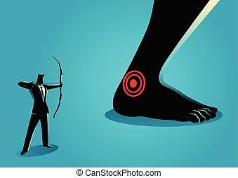 Achilles' Heel - Business concept vector illustration of...