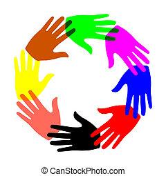 acht, handen, cirkel