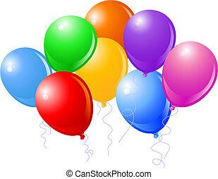 acht, mooi, feestje, ballons