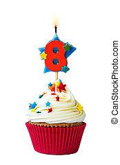 acht, zahl,  Cupcake