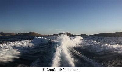 achter, de, scheeps , golven, met, canon, mk