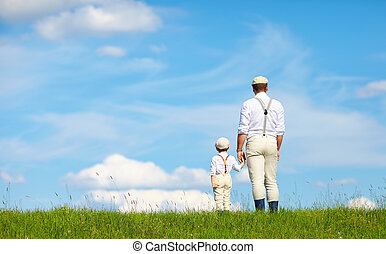 achter, vader, blik, horizon, zoon