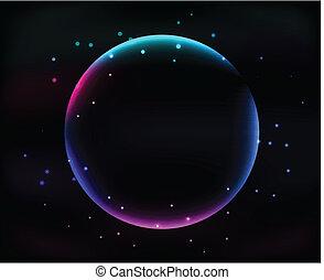achtergrond, abstract, bol, gloeiend, black , sterretjes