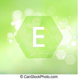 achtergrond., abstract, e., groene, vitamine