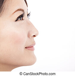 achtergrond, afsluiten, vrijstaand, gezicht, witte , vrouw, ...
