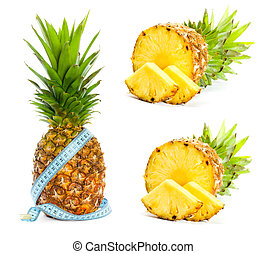 achtergrond, ananas, witte