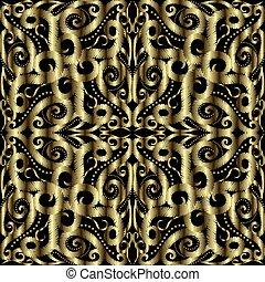 achtergrond., arabische , textured, stijl, lijnen, bochten, ornament, achtergrond., borduurwerk, vector, bloemen, grunge, floral, textuur, seamless, herhalen, swirls, arabesk, tapestry, pattern., oppervlakte, goud, 3d, dots.