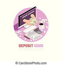 achtergrond, bankwezen online, storting
