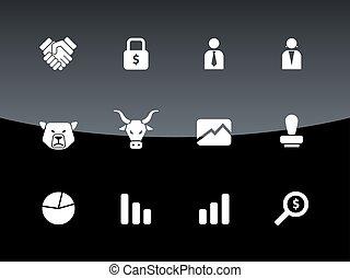 achtergrond., black , financiën, iconen