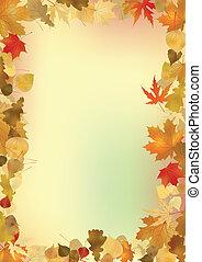 achtergrond., bladeren, frame, copyspace, herfst