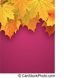 achtergrond., bladeren, rood geel, herfst