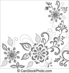 achtergrond, bloem, contourlijnen