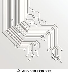 achtergrond, boompje, -, vector, plank, circuit, 3d