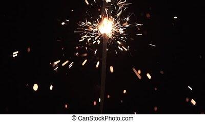 achtergrond., burning, bengalen, vuur, sparkler, black