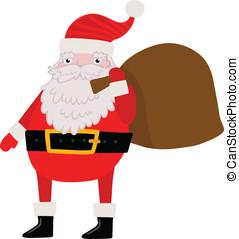 achtergrond, cadeau, claus, kerstman, bag., kerstmis