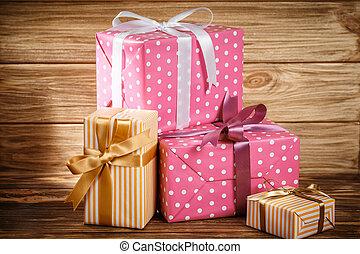 achtergrond, cadeau, houten, lint, doosje