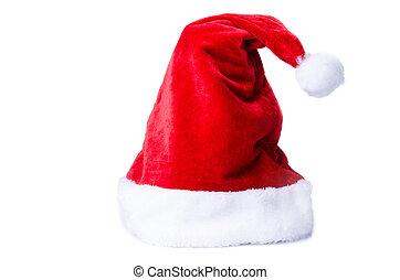 achtergrond, claus, vrijstaand, enkel, kerstman, witte hoed, rood