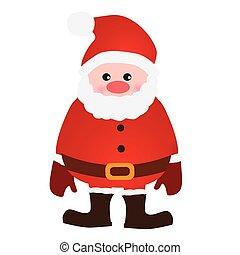 achtergrond, claus, vrijstaand, vector, kerstman, witte