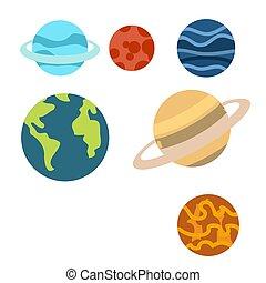 achtergrond, clipart, ruimte, vrijstaand, of, planeet, witte , spotprent