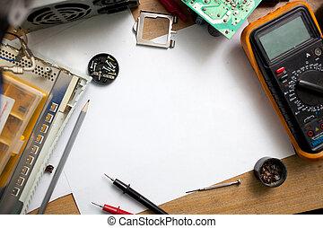 achtergrond., concept, gereedschap, copyspace