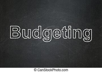 achtergrond, concept:, het in de begroting opnemen, chalkboard, zakelijk