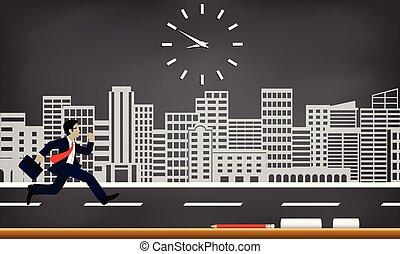 achtergrond, concept., time., werken, spotprent, vrijstaand, vector, tekening, tegen, zakelijk, zakenlieden, volgen, stad, late., uitvoeren, bord, klok, illustratie, hardloop