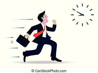 achtergrond, concept., werken, time., witte , spotprent, vrijstaand, work., gaan, vector, tegen, zakelijk, zakenlieden, volgen, rennende , late., klok, illustratie, hardloop