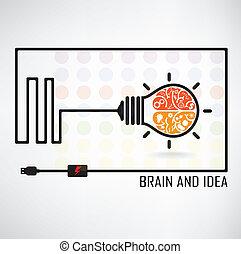 achtergrond, creatief, hersenen, idee, concept