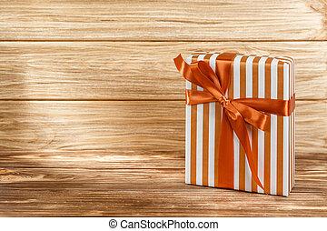 achtergrond, doosje, cadeau, houten, lint