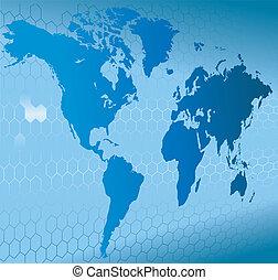 achtergrond, dynamisch, wereldkaart, 3d