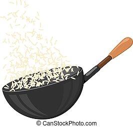 achtergrond., eenvoudig, menu, keuken, groot, voedingsmiddelen, artikel, witte rijst, icon., pan, design.