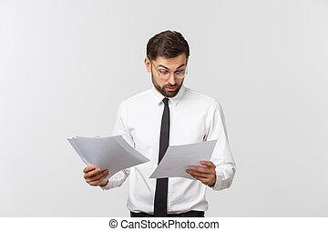 achtergrond., elegant, zakelijk, zakenman, jonge man, klembord, kostuum, slijtage, schrijvende , op, serieuze , vastknopen, vrijstaand, witte , mooi