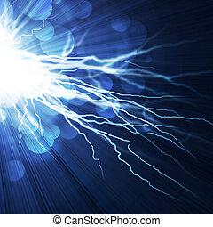 achtergrond, elektrisch blauw, flits, lightning