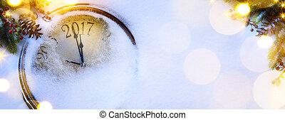 achtergrond;, eva, jaren, nieuw, kunst, 2017, kerstmis, vrolijke