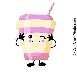 achtergrond., eyes, milkshake, witte , glimlachen
