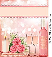 achtergrond, feestelijk, kaarsje, goblet., parel, roos