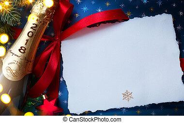 achtergrond, feestelijk, year;, 2018;, vrolijk, nieuw, feestje, kerstmis, vrolijke