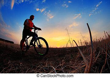achtergrond., fietser, silhouette, fiets, ondergaande zon