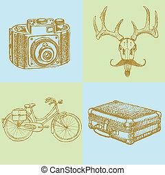 achtergrond, foto, hertje, fiets, vector, suitecase, schets, fototoestel, mustache, hipster