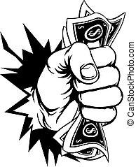achtergrond, geld, verbreking, contant, fist, vasthouden