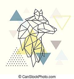 achtergrond., geometrisch, silhouette, driehoek, wolf