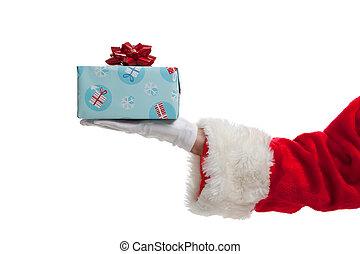achtergrond, geven, kadootjes, kerstman, witte kerst