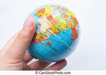 achtergrond, globe, vasthouden, witte , hand model
