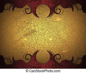 achtergrond, goud, patterns., ontwerp, mal, rood