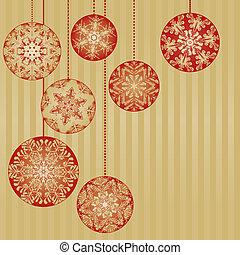 achtergrond, goud, versieringen, kerstmis