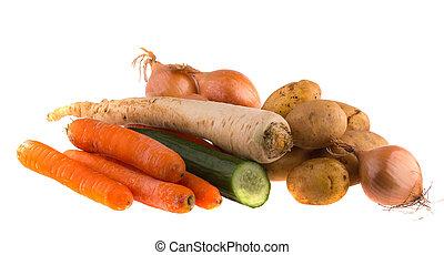 achtergrond., groentes, witte , vrijstaand, rauwe