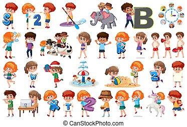 achtergrond, groot, set, witte , anders, activiteiten, kinderen