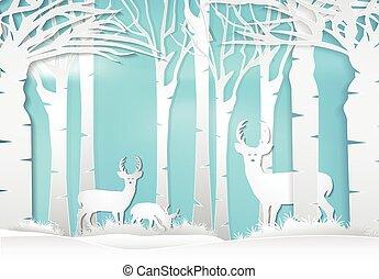 achtergrond, hertje, papier, illustration., stijl, landscape, staand, forest., natuur, kunst