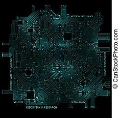 achtergrond, hoog, computer tech, circuit plank, technologie